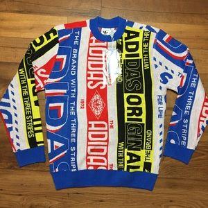 NEW Adidas Scarf Knit Crew Neck Sweater Men's XS